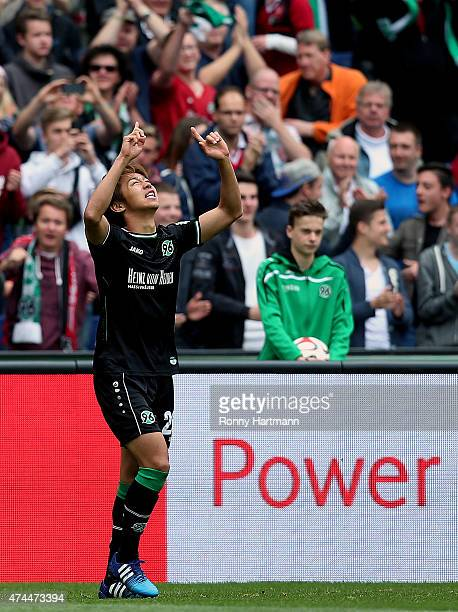 Hiroshi Kiyotake of Hannover celebrates after scoring his team's opening goal during the Bundesliga match between Hannover 96 and SC Freiburg at...