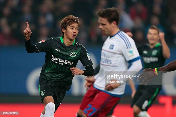Hiroshi Kiyotake of Hannover celebrates after scoring their first goal during the First Bundesliga match between Hamburger SV and Hannover 96 at...