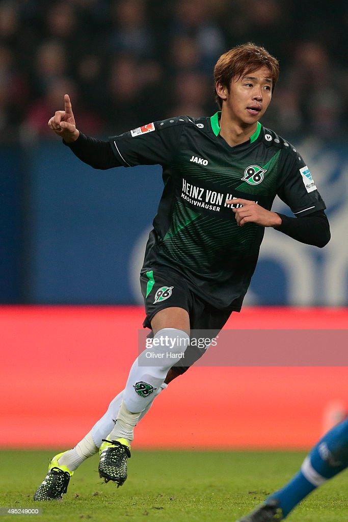 <a gi-track='captionPersonalityLinkClicked' href=/galleries/search?phrase=Hiroshi+Kiyotake&family=editorial&specificpeople=7645519 ng-click='$event.stopPropagation()'>Hiroshi Kiyotake</a> of Hannover celebrates after scoring their first goal during the First Bundesliga match between Hamburger SV and Hannover 96 at Volksparkstadion on November 1, 2015 in Hamburg, Germany.