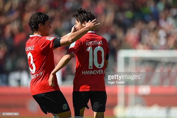 Hiroshi Kiyotake of Hannover celebrates scoring his goal during the Bundesliga match between Hannover 96 and 1899 Hoffenheim at HDIArena on May 7...