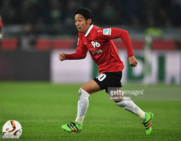 Hiroshi Kiyotake of Hannover in action during the Bundesliga match between Hannover 96 and Borussia Moenchengladbach at HDIArena on April 15 2016 in...