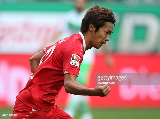 Hiroshi Kiyotake of Hannover jubilates after scoring the second goal during the Bundesliga match between VFL Wolfsburg and Hannover 96 at Volkswagen...