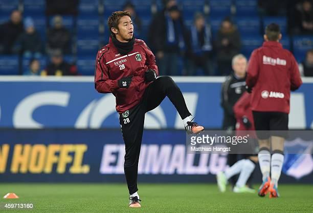 Hiroshi Kiyotake of Hannover warms up for the Bundesliga match between 1899 Hoffenheim and Hannover 96 at Wirsol RheinNeckarArena on November 29 2014...