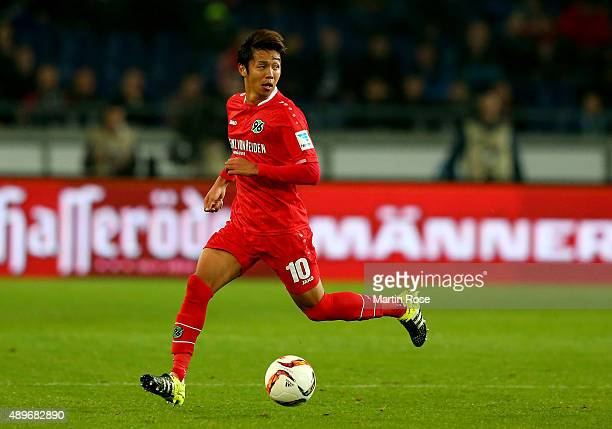 Hiroshi Kiyotake of Hannovercontolls the ball during the Bundesliga match between Hannover 96 and VfB Stuttgart at HDIArena on September 23 2015 in...