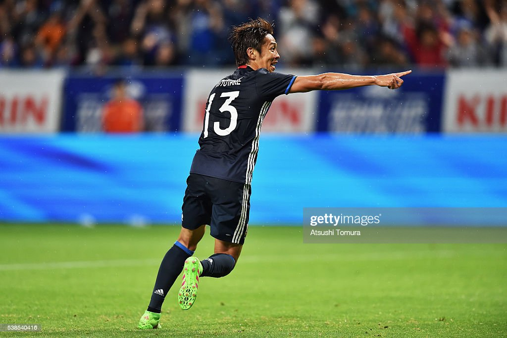 <a gi-track='captionPersonalityLinkClicked' href=/galleries/search?phrase=Hiroshi+Kiyotake&family=editorial&specificpeople=7645519 ng-click='$event.stopPropagation()'>Hiroshi Kiyotake</a> of Japan celebrates scoring his team's first goal during the international friendly match between Japan and Bosnia and Herzegovina at the Suita City Football Stadium on June 7, 2016 in Suita, Osaka, Japan.