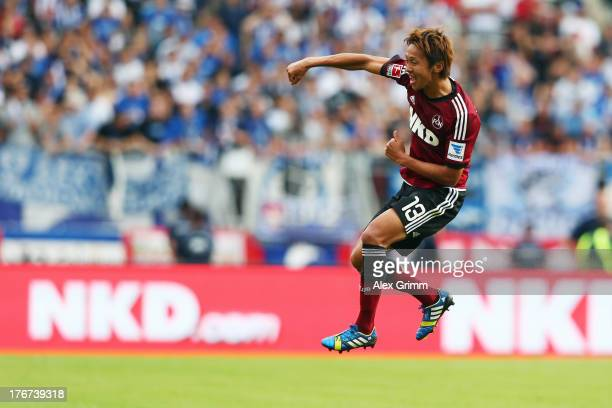 Hiroshi Kiyotake of Nuernberg celebrates his team's second goal during the Bundesliga match between 1 FC Nuernberg and Hertha BSC Berlin at Grundig...
