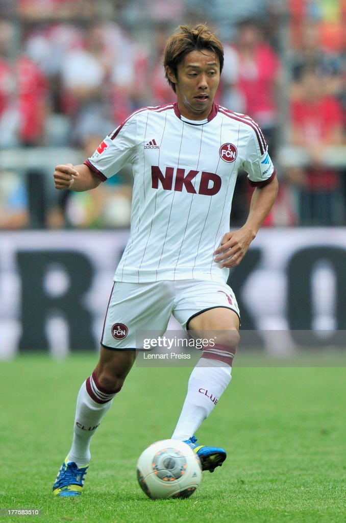 <a gi-track='captionPersonalityLinkClicked' href=/galleries/search?phrase=Hiroshi+Kiyotake&family=editorial&specificpeople=7645519 ng-click='$event.stopPropagation()'>Hiroshi Kiyotake</a> of Nuernberg in action during the Bundesliga match between FC Bayern Muenchen and 1. FC Nuernberg at Allianz Arena on August 24, 2013 in Munich, Germany.