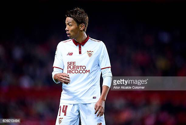 Hiroshi Kiyotake of Sevilla FC looks on during the La Liga match between Sevilla FC and Valencia CF at Estadio Ramon Sanchez Pizjuan on November 26...