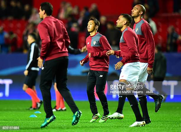 Hiroshi Kiyotake of Sevilla warms up prior to the UEFA Champions League match between Sevilla FC and Juventus at Estadio Ramon Sanchez Pizjuan on...