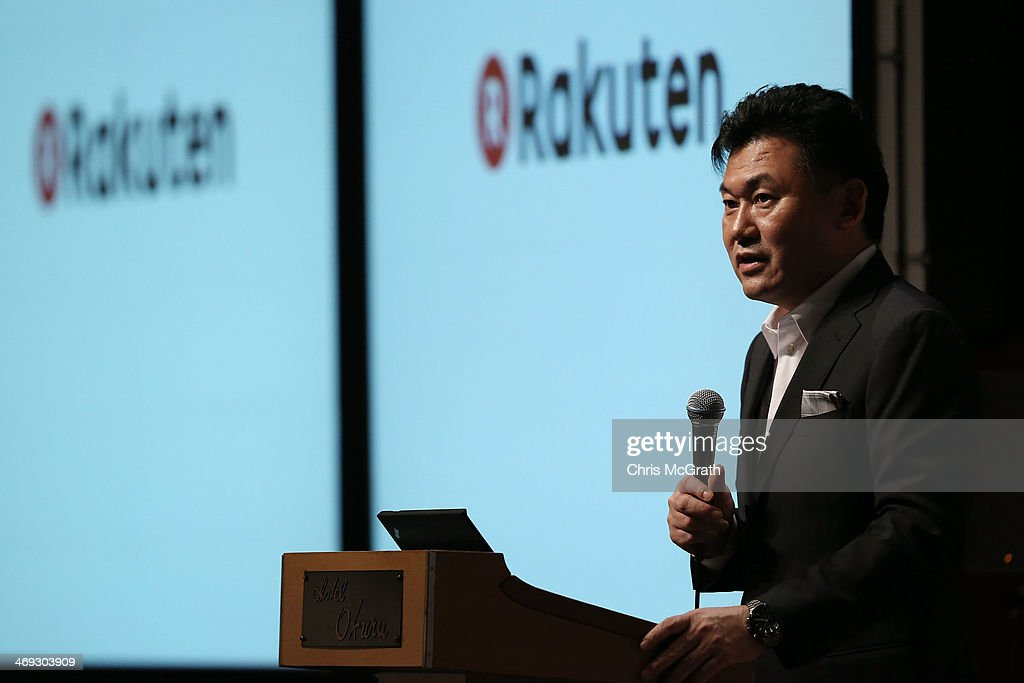 <a gi-track='captionPersonalityLinkClicked' href=/galleries/search?phrase=Hiroshi+Mikitani&family=editorial&specificpeople=2208204 ng-click='$event.stopPropagation()'>Hiroshi Mikitani</a>, chairman and chief executive officer of Rakuten, Inc. speaks during a press conference announcing the earning results for Q4 of fiscal year 2013 on February 14, 2014 in Tokyo, Japan.