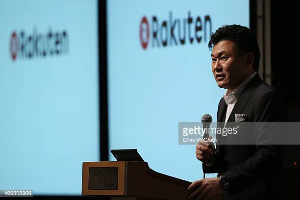 Hiroshi Mikitani chairman and chief executive officer of Rakuten Inc speaks during a press conference announcing the earning results for Q4 of fiscal...