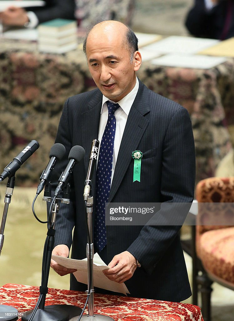 Hiroshi Nakaso, assistant governor and executive director of the Bank of Japan (BOJ) and nominee for second deputy governor of the BOJ, speaks during a confirmation hearing at the lower house of Parliament in Tokyo, Japan, on Tuesday March 5, 2013. Nakaso said that the central bank may have more room to be creative in its monetary policy and that wage growth is needed. Photographer: Haruyoshi Yamaguchi/Bloomberg via Getty Images