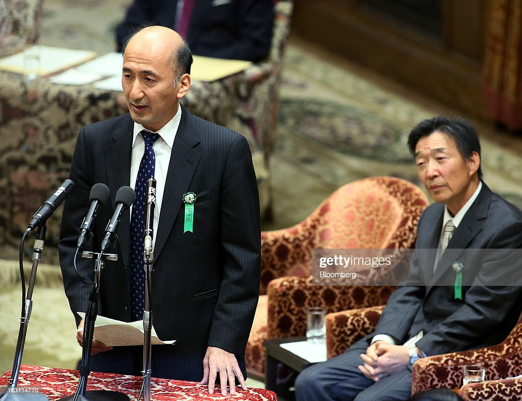 Hiroshi Nakaso, assistant governor and executive director of the Bank of Japan (BOJ) and nominee for second deputy governor of the BOJ, left, speaks as Kikuo Iwata, professor of economics at Gakushuin University and nominee for deputy governor of the BOJ, looks on during a confirmation hearing at the lower house of Parliament in Tokyo, Japan, on Tuesday March 5, 2013. Nakaso said that the central bank may have more room to be creative in its monetary policy and that wage growth is needed. Photographer: Haruyoshi Yamaguchi/Bloomberg via Getty Images