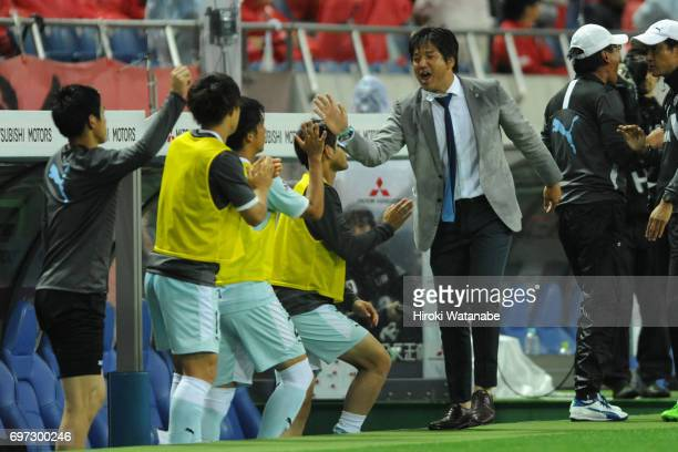 Hiroshi Nanami coach of Jubilo Iwata gestures after the JLeague J1 match between Urawa Red Diamonds and Jubilo Iwata at Saitama Stadium on June 18...