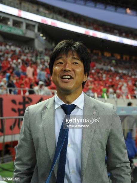 Hiroshi Nanami coach of Jubilo Iwata looks on prior to the JLeague J1 match between Urawa Red Diamonds and Jubilo Iwata at Saitama Stadium on June 18...
