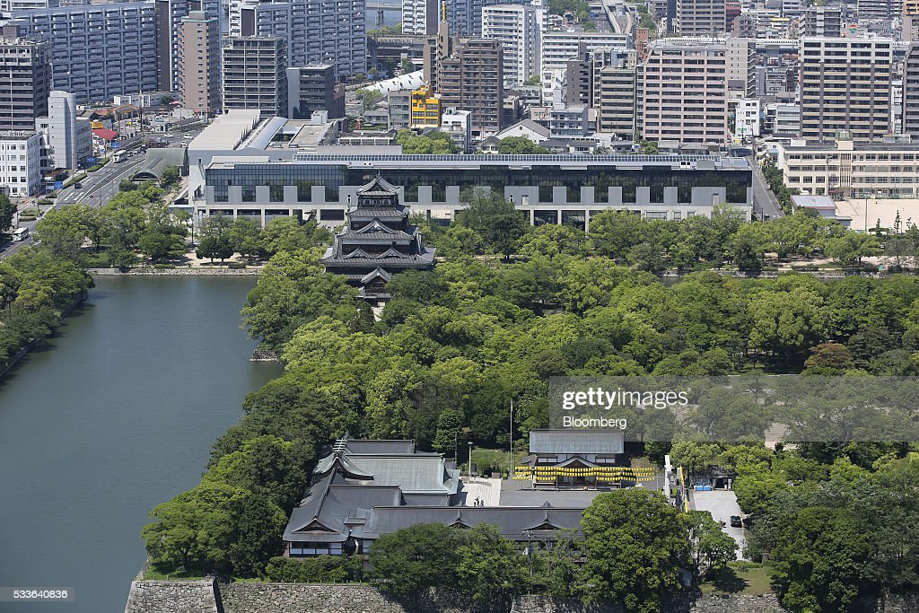 Hiroshima Castle stands surrounded by a moat in Hiroshima Japan on Tuesday May 17 2016 US President Barack Obama's historic visit on Friday May 27...