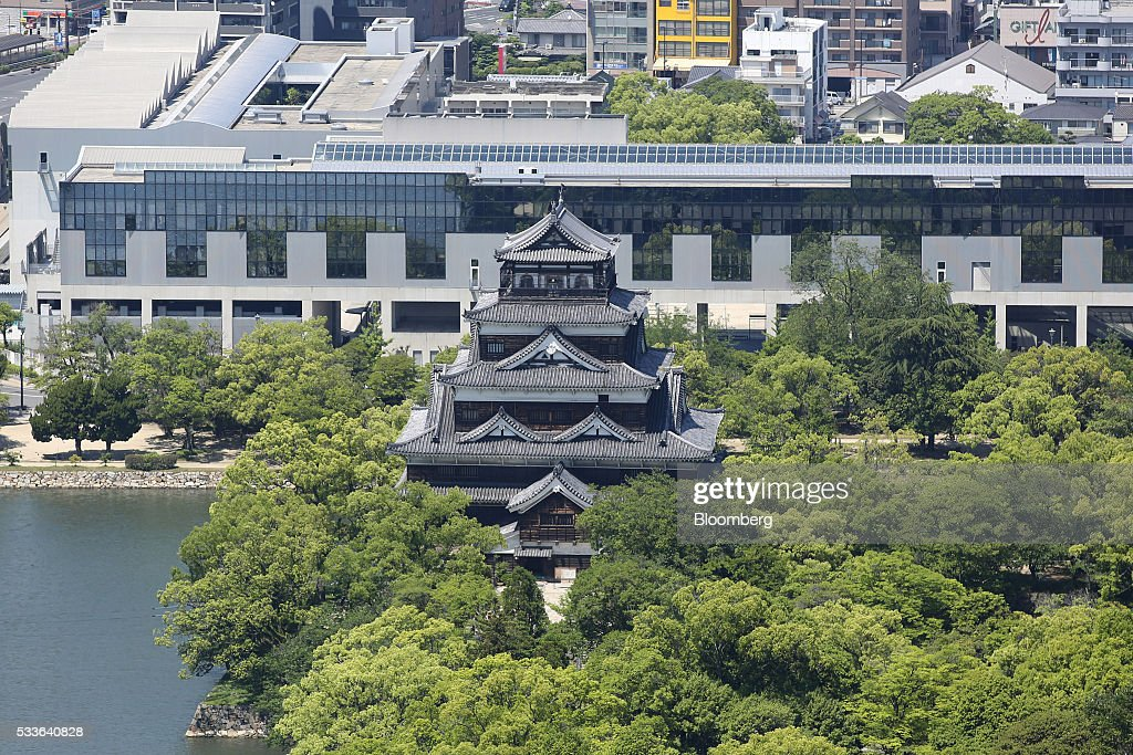 Hiroshima Castle surrounded by a moat stands in Hiroshima Japan on Tuesday May 17 2016 US President Barack Obama's historic visit on Friday May 27...