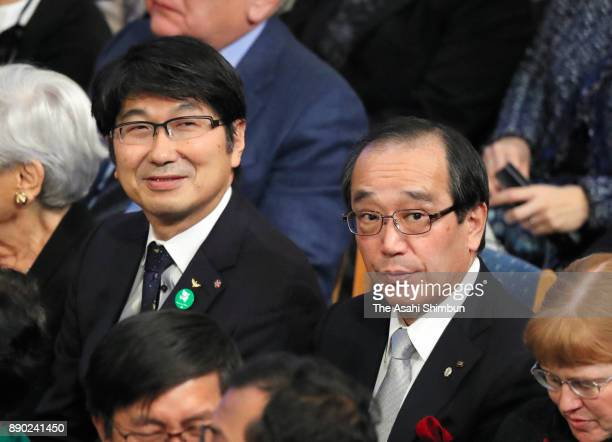 Hiroshima Mayor Kazumi Matsui and Nagasaki Mayor Tomihisa Taue attend the Nobel Peace Prize ceremony at the Oslo City Hall on December 10 2017 in...