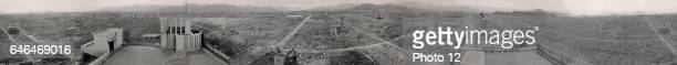 Hiroshima panoramic view after the atomic bomb exploded over the city in 1945