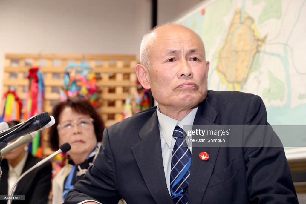 Hiroshima Prefectural Confederation of A-Bomb Sufferers Organizations vice chairman Toshiyuki Mimaki (R) speaks during a press conference after the Nobel Peace Prize is announced on October 6, 2017 in Hiroshima, Japan. The Norwegian Nobel Committee announced that this year's Nobel Peace Prize was awarded to the International Campaign to Abolish Nuclear Weapons (ICAN), which contributed to the adoption in July of the Treaty on the Prohibition of Nuclear Weapons.