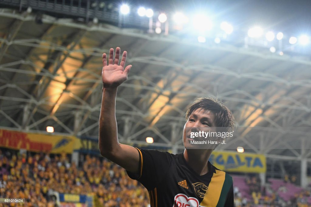Hirotaka Mita of Vegalta Sendai applauds supporters after his side's 1-0 victory in the J.League J1 match between Vegalta Sendai and Sanfrecce Hiroshima at Yurtex Stadium Sendai on August 13, 2017 in Sendai, Miyagi, Japan.