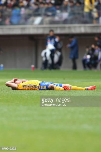 Hirotaka Mita of Vegalta Sendai shows dejection after the 22 draw in the JLeague J1 match between Vegalta Sendai and Yokohama FMarinos at Yurtec...