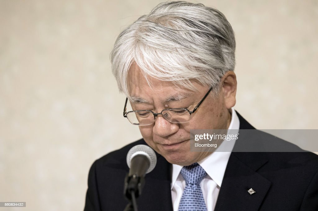 Hiroya Kawasaki, president and chief executive officer of Kobe Steel Ltd., pauses during a news conference in Tokyo, Japan, Friday, Oct. 13, 2017. Kobe Steel said the crisis over faked quality controls has expanded to include another nine products, including items manufactured outside Japan and shipped as long ago as 2007, and that the number of affected customers has risen to about 500. Photographer: Shiho Fukada/Bloomberg via Getty Images