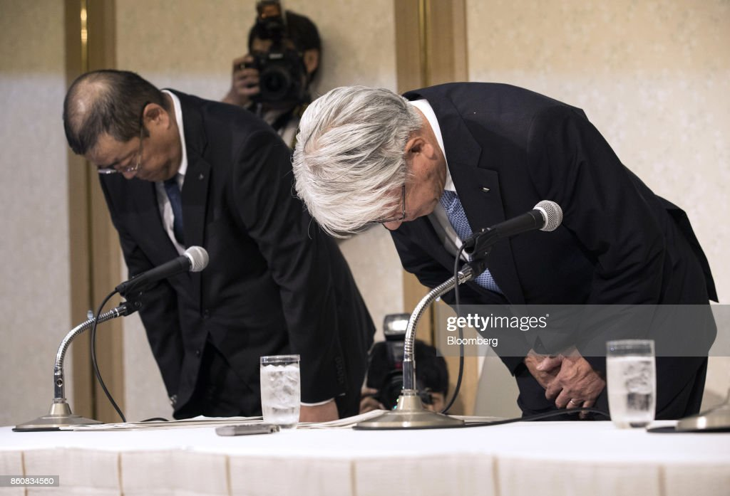 Hiroya Kawasaki, president and chief executive officer of Kobe Steel Ltd., right, and Yoshihiko Katsukawa, managing executive officer, bow at the start of a news conference in Tokyo, Japan, Friday, Oct. 13, 2017. Kobe Steel said the crisis over faked quality controls has expanded to include another nine products, including items manufactured outside Japan and shipped as long ago as 2007, and that the number of affected customers has risen to about 500. Photographer: Shiho Fukada/Bloomberg via Getty Images
