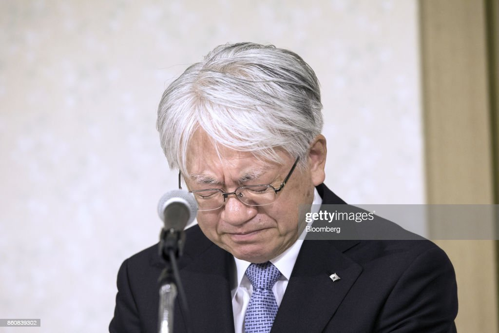 Hiroya Kawasaki, president and chief executive officer of Kobe Steel Ltd., looks down during a news conference in Tokyo, Japan, Friday, Oct. 13, 2017. Kobe Steel said the crisis over faked quality controls has expanded to include another nine products, including items manufactured outside Japan and shipped as long ago as 2007, and that the number of affected customers has risen to about 500. Photographer: Shiho Fukada/Bloomberg via Getty Images