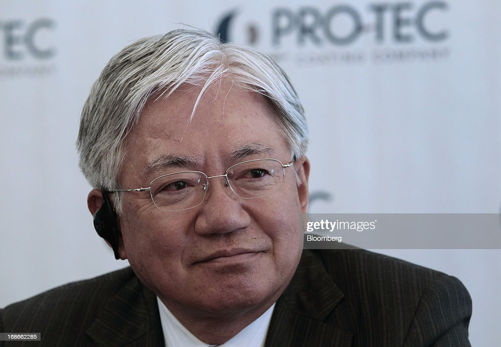Hiroya Kawasaki, president of Kobe Steel Ltd., listens during an event at the PRO-TEC Coating Co. facility in Leipsic, Ohio, U.S., on Monday, May 13, 2013. PRO-TEC Coating Co. was established as a joint venture in 1990 by two global leaders in steel technology and production: United States Steel Corp. and Kobe Steel Ltd. of Japan. Photographer: Jeff Kowalsky/Bloomberg via Getty Images