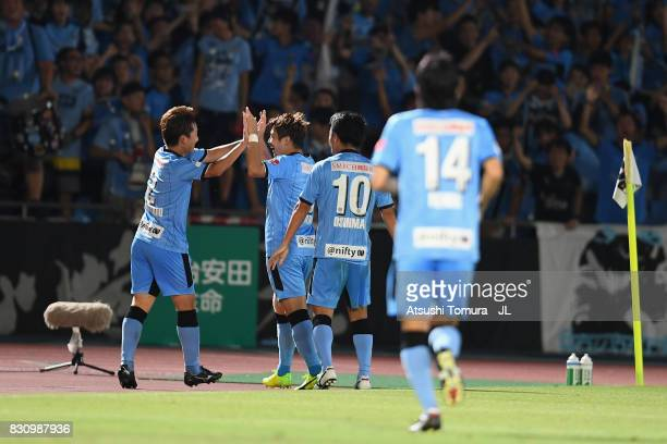 Hiroyuki Abe of Kawasaki Frontale celebrates scoring his side's second goal with his team mates during the JLeague J1 match between Kawasaki Frontale...