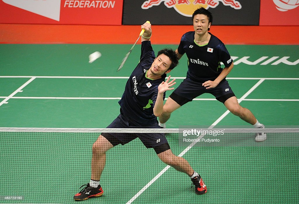 <a gi-track='captionPersonalityLinkClicked' href=/galleries/search?phrase=Hiroyuki+Endo&family=editorial&specificpeople=5530229 ng-click='$event.stopPropagation()'>Hiroyuki Endo</a> and <a gi-track='captionPersonalityLinkClicked' href=/galleries/search?phrase=Kenichi+Hayakawa&family=editorial&specificpeople=5851276 ng-click='$event.stopPropagation()'>Kenichi Hayakawa</a> of Japan compete against Adam Cwalina and Przemyslaw Wacha of Poland in the 2015 Total BWF World Championship at Istora Senayan on August 12, 2015 in Jakarta, Indonesia.