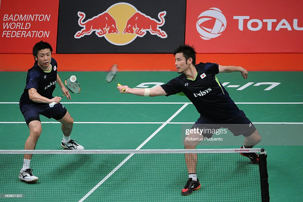 <a gi-track='captionPersonalityLinkClicked' href=/galleries/search?phrase=Hiroyuki+Endo&family=editorial&specificpeople=5530229 ng-click='$event.stopPropagation()'>Hiroyuki Endo</a> and <a gi-track='captionPersonalityLinkClicked' href=/galleries/search?phrase=Kenichi+Hayakawa&family=editorial&specificpeople=5851276 ng-click='$event.stopPropagation()'>Kenichi Hayakawa</a> of Japan compete against Wahyu Nayaka Arya Pankaryanira and Ade Yusuf of Indonesia in the 2015 Total BWF World Championship at Istora Senayan on August 13, 2015 in Jakarta, Indonesia.