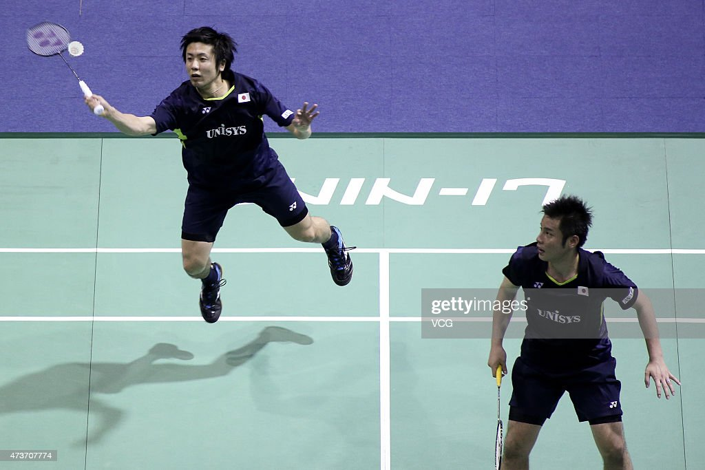 <a gi-track='captionPersonalityLinkClicked' href=/galleries/search?phrase=Hiroyuki+Endo&family=editorial&specificpeople=5530229 ng-click='$event.stopPropagation()'>Hiroyuki Endo</a> and <a gi-track='captionPersonalityLinkClicked' href=/galleries/search?phrase=Kenichi+Hayakawa&family=editorial&specificpeople=5851276 ng-click='$event.stopPropagation()'>Kenichi Hayakawa</a> of Japan compete against Zhang Nan and Fu Haifeng of China during Men's Doubles match in the finals on day eight of 2015 Sudirman Cup BWF World Mixed Team Championships at Dongfeng Nissan Sports Center on May 17, 2015 in Dongguan, China.