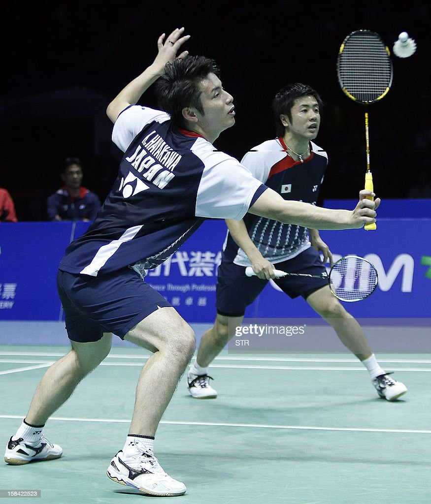Hiroyuki Endo and Kenichi Hayakawa (L) of Japan in action against Mathias Boe and Carsten Mogensen of Denmarkin the men's doubles final match of the 2012 BWF Superseries Finals in Shenzhen, south China's Guangdong province on December 16, 2012. Boe and Mogensen beat Endo and Hayakawa 21-17, 21-19 for the title.