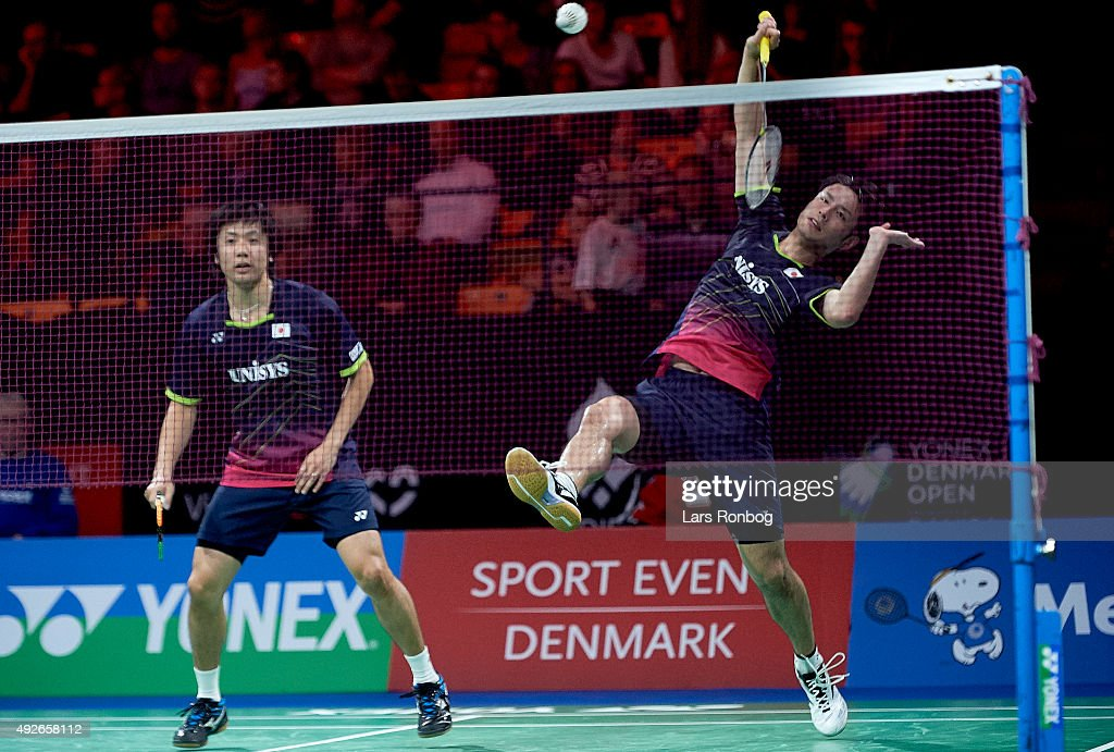 Hiroyuki ENDO and Kenichi HAYAKAWA of Japan in action during Day Two at the MetLife BWF World Superseries Premier Yonex Denmark Open Badminton at Odense Idratshal on October 14, 2015 in Odense, Denmark.