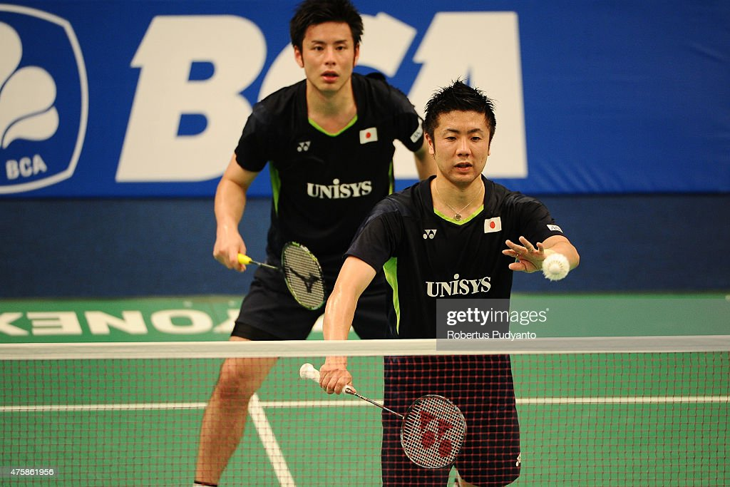 <a gi-track='captionPersonalityLinkClicked' href=/galleries/search?phrase=Hiroyuki+Endo&family=editorial&specificpeople=5530229 ng-click='$event.stopPropagation()'>Hiroyuki Endo</a> and <a gi-track='captionPersonalityLinkClicked' href=/galleries/search?phrase=Kenichi+Hayakawa&family=editorial&specificpeople=5851276 ng-click='$event.stopPropagation()'>Kenichi Hayakawa</a> of Japan serve against Berry Angriawan and Ryan Agung Saputra of Indonesia during the 2015 BCA Indonesia Open Round 2 match on June 4, 2015 in Jakarta, Indonesia.