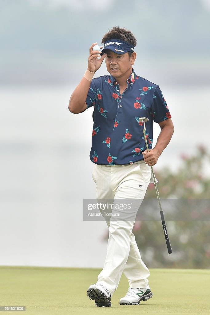 Hiroyuki Fujita of Japan reacts during the 3rd round of the Mizuno Open at JFE Setonaikai Golf Club on May 28, 2016 in Okayama, Japan.
