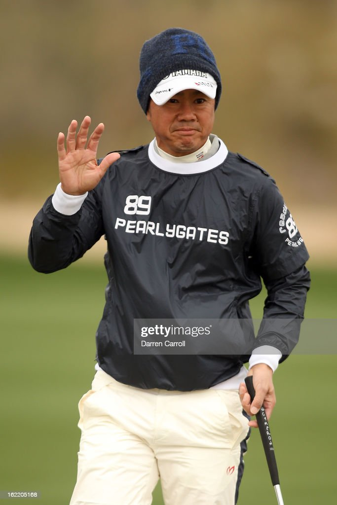 Hiroyuki Fujita of Japan reacts on the second hole green during the first round of the World Golf Championships - Accenture Match Play at the Golf Club at Dove Mountain on February 20, 2013 in Marana, Arizona.