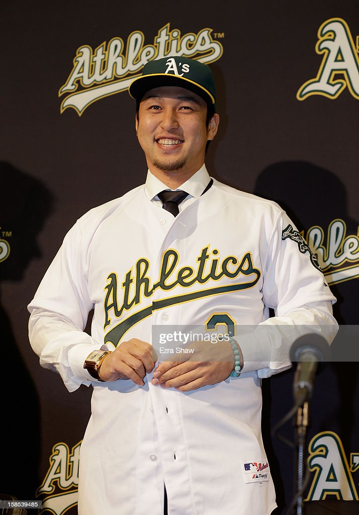 Hiroyuki Nakajima of Japan is introduced by the Oakland Athletics at the O.co Coliseum on December 18, 2012 in Oakland, California. Nakajima signed a two-year contract through 2014 with a club option for 2015.