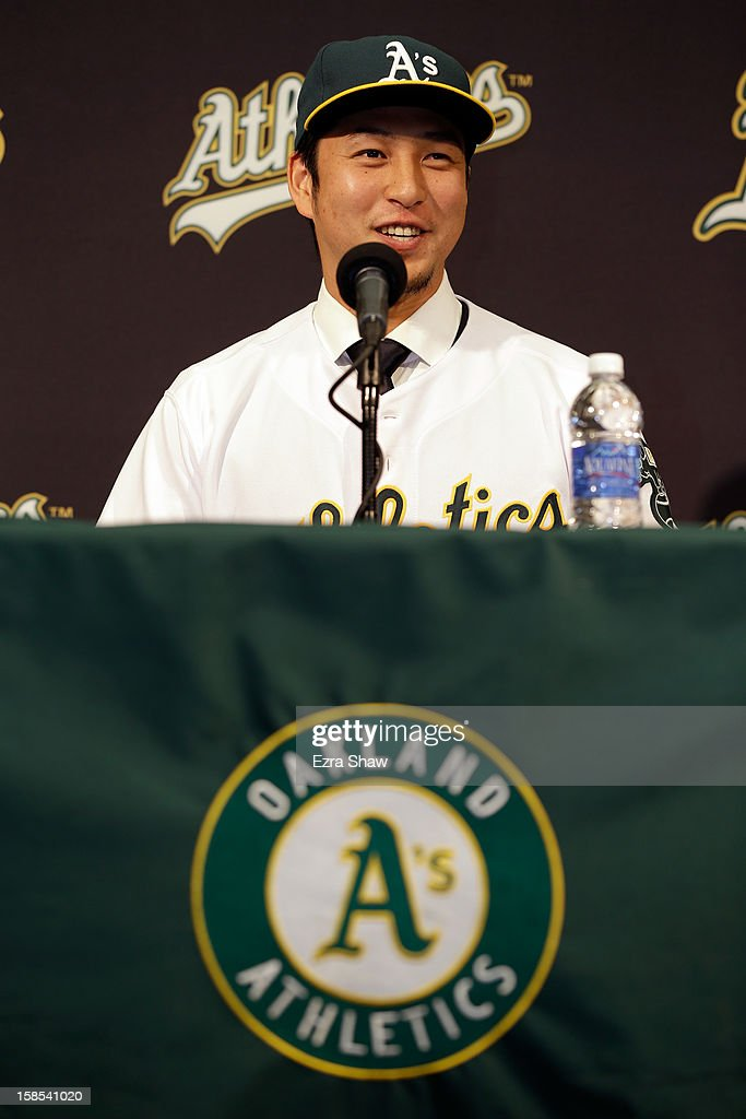 Hiroyuki Nakajima of Japan speaks at a press conference where he was introduced by the Oakland Athletics at the O.co Coliseum on December 18, 2012 in Oakland, California. Nakajima signed a two-year contract through 2014 with a club option for 2015.