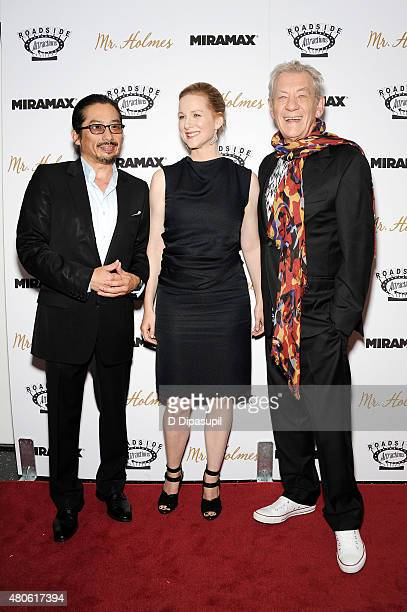 Hiroyuki Sanada Laura Linney and Sir Ian McKellen attend the 'Mr Holmes' New York Premiere at the Museum of Modern Art on July 13 2015 in New York...