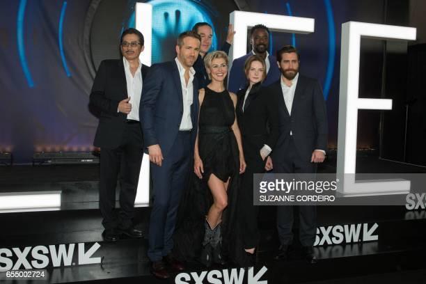 Hiroyuki Sanada Ryan Reynolds Daniel Espinosa Olga Dihvichnaya Rebecca Ferguson Ariyon Bakare and Jake Gyllenhaal attend the 'Life' premiere during...