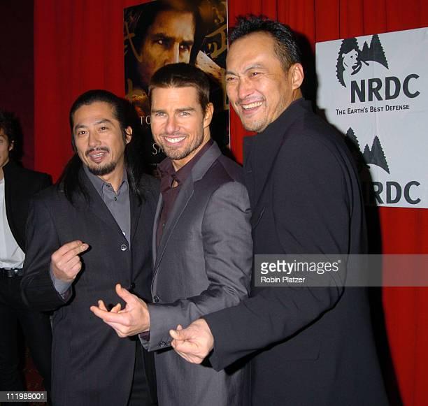 Hiroyuki Sanada Tom Cruise and Kan Watanabe during 'The Last Samurai' New York Premiere at The Zeigfeld Theater in New York City New York United...
