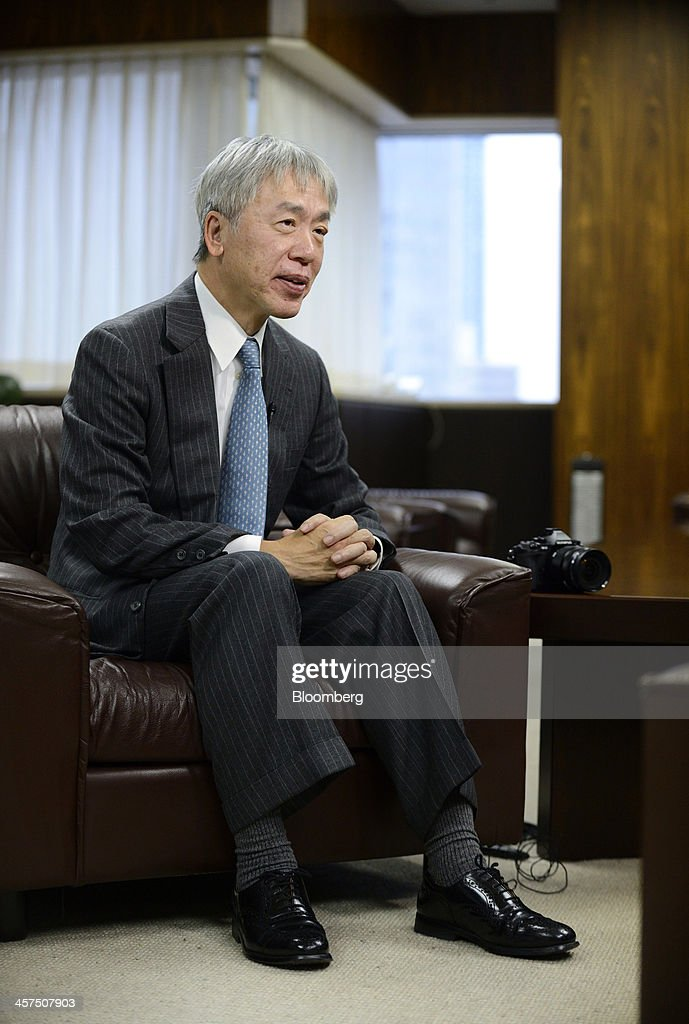 <a gi-track='captionPersonalityLinkClicked' href=/galleries/search?phrase=Hiroyuki+Sasa&family=editorial&specificpeople=8947910 ng-click='$event.stopPropagation()'>Hiroyuki Sasa</a>, president and chief executive officer of Olympus Corp., speaks during an interview in Tokyo, Japan, on Wednesday, Dec. 18, 2013. Olympus forecast a return to profit for its camera unit next fiscal year as sales of mirrorless models increase. Photographer: Akio Kon/Bloomberg via Getty Images