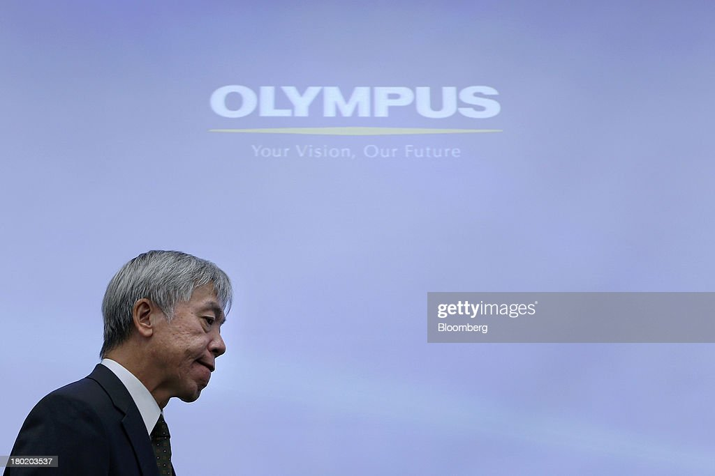 <a gi-track='captionPersonalityLinkClicked' href=/galleries/search?phrase=Hiroyuki+Sasa&family=editorial&specificpeople=8947910 ng-click='$event.stopPropagation()'>Hiroyuki Sasa</a>, president of Olympus Corp., attends the unveiling of the company's OM-D E-M1 micro four-thirds camera in Tokyo, Japan, on Tuesday, Sept. 10, 2013. Olympus, which produced its first camera in 1936, is the world's biggest maker of endoscopes. Photographer: Kiyoshi Ota/Bloomberg via Getty Images