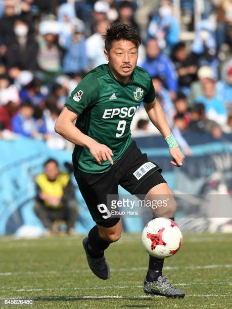 Hiroyuki Takasaki of Matsumoto Yamaga in action during the JLeague J2 match between Yokohama FC and Matsumoto Yamaga at Nippatsu Mitsuzawa Stadium on...