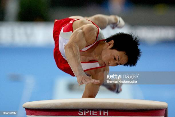 Hiroyuki Tomita of Japan performs on the vault during the men's qualifications of the 40th World Artistic Gymnastics Championships on September 03...