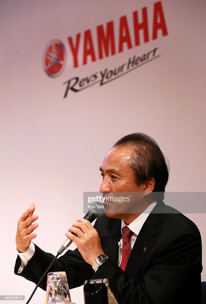 Hiroyuki Yanagi, President, Chief Executive Officer and Representative Director of Yamaha Motor Corp. announces their consolidated fiscal business results of 2014 at the the Meiji Yasuda Seimei Building on February 12, 2015 in Tokyo, Japan. The company scored operating income of 87.2 billion yen for the current full year, one year earlier than originally targeted in its 2013 - 2015 business plan.