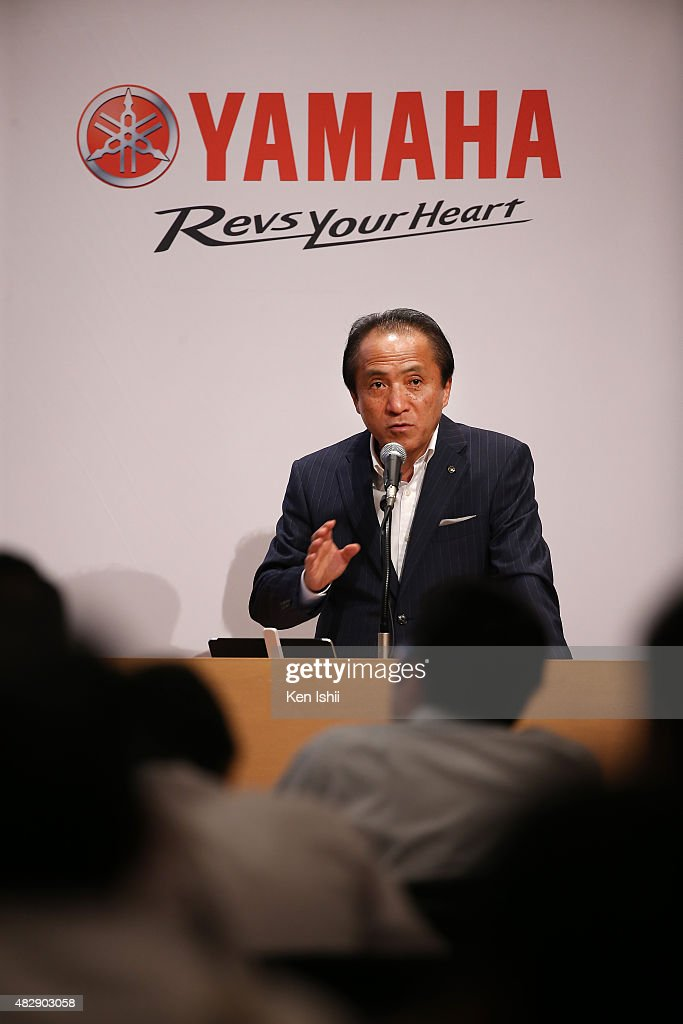 Hiroyuki Yanagi, President, Chief Executive Officer and Representative Director of Yamaha Motor Co., LTD announces their consolidated first half business results of 2015 at the Meiji Yasuda Seimei Building on August 4, 2015 in Tokyo, Japan. The company is forecasting operating income of at least 120 billion yen for the current full year.
